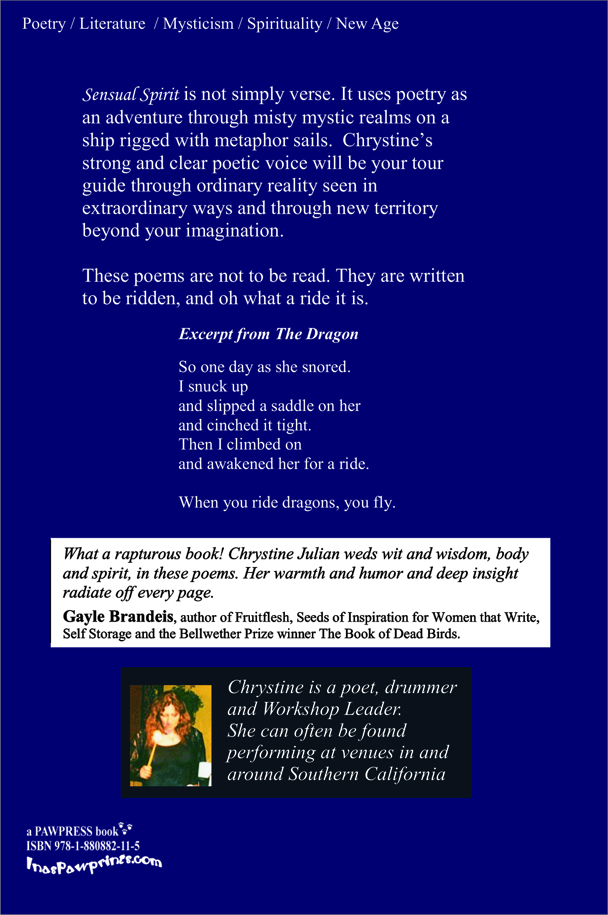 Poetry Book Back Cover ~ Read more about chrystine julian s quot sensual spirit from